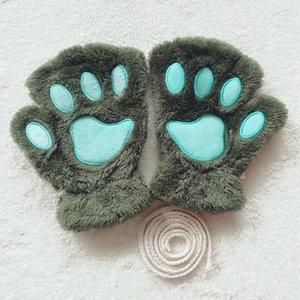 Cute Plush Cat's Gloves For Children Girls Winter Warm Mittens Short Fingerless Gloves Kids Half Finger