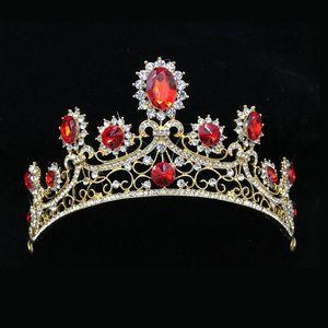 Slbridal Estilo Barroco Vermelho Clear Strass Cristal Bridal Tiara Casamento Coroa Liga Rainha Princesa Tiara Mulheres