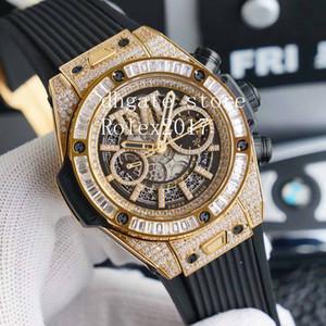 남자 46mm 시계 7750 Full Diamond Valjoux 기능적 크로노 그래프 남성 스포츠 시계가있는 자동 운동