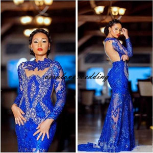 Arabic Royal Blue Mermaid Evening Dress Beaded Lace Long Sleeves Formal Party Pageant Gowns Prom Dress