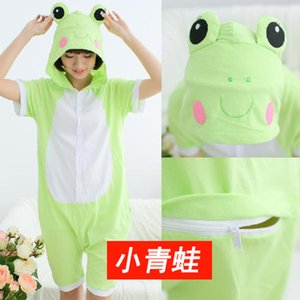 Summer Children's Short Sleeve Frog Cartoon One-piece Pajamas for Men and Women Couples Animal Household Clothes Pure Cotton Suit RBVD