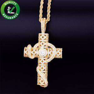 Hip Hop Jewelry Designer Collar helado Out Colgante Mens Diamond Cross Collar Bling Rapper Rose Oro Plata Colgantes Accesorios de Moda