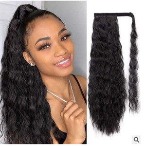 Young and Beauty Long Corn Wave Ponytail Extension Synthetic Magic Paste Heat Resistant Synthetic Wrap Around Ponytail