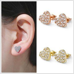 Rose Gold Cubic Zirconia Womens Love Heart Stud Earrings Full Diamond Earring Studs Hip Hop Ear Jewelry Gift for Ladies