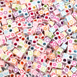 200Pcs 6mm Square Mixed Color Holes 3.8mm Acrylic Bead Loose Bead Handcarft Jewelry Making DIY Bracelet Necklace Jewelry Finding