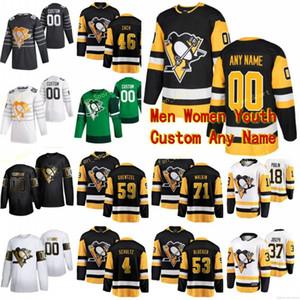 Pingüinos de Pittsburgh Hockey Jersey 9 Evan Rodrigues 77 Mark Jankowski 43 Josh Currie 89 Frederick Gaudreau Hombres Mujeres Jóvenes personalizada cosido