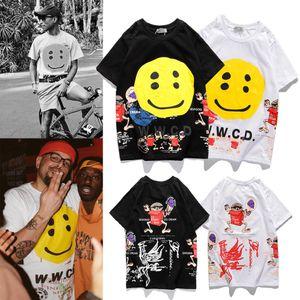 Trendy Marke Kanye gleicher Absatz Smiley Multi-Element dreidimensional gedruckt Kurzarm-T-Shirt