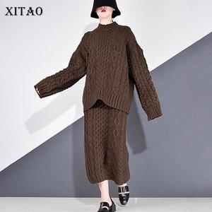 Casual insiemi delle donne colore solido Xitao 2020 autunno back Split tendenza di moda New Style stand collare manica lunga elegante GCC4044