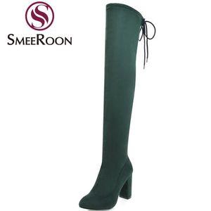 Smeeroon moda affollano coscia stivali alti per i pattini delle donne sopra gli stivali al ginocchio tacco alto spessore inverno signore ufficio autunno