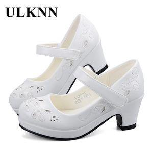 Kızlar Ayakkabı Parti Gelinlik Çocuk Ayakkabı için ULKNN İlkbahar Sonbahar Prenses Deri Çiçekler Çocuk Yüksek topuk