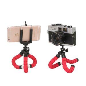 1 pcs esponja elástica esponja polvo mini-tripé para iPhone mini câmera tripé titular clipe de suporte do telefone conveniente e prático