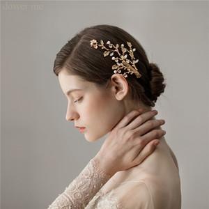 Npason Gold Blatt Floral Haarspange Braut Haarstück Perlen Hochzeit Schmuck Haarschmuck Handgemachte Frauen Barrettes W1224