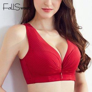 FallSweet Women Plunge Vest Bra Deep V Wireless Brassiere Plus Size Wide Strap Underwear C   D Cup U Back Bras Femme 201008