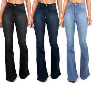 Mujeres sólido Lavado Vaqueros ajustados de cintura alta de la pierna de los pantalones de mezclilla elástico ancho Estiramientos femeninos Jeans gastados