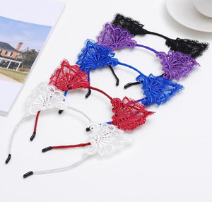 Cat Ear Headband Hollow Lace Head Hoops Wedding Party Photography Headwear Elastic Hair Band Women Hair Accessories 9 Colors