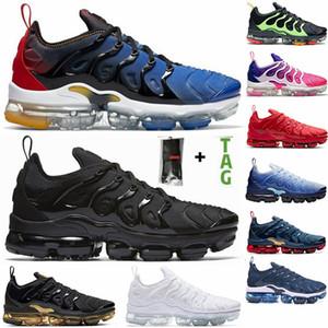 En Kaliteli TN Koşu Ayakkabıları Yardımcı Programı Siyah Beyaz Altın Hiper Midnight Mavi TN Artı Mens Bayan Spor Sneakers Boyutu 36-46 ABD 12 Eğitimciler