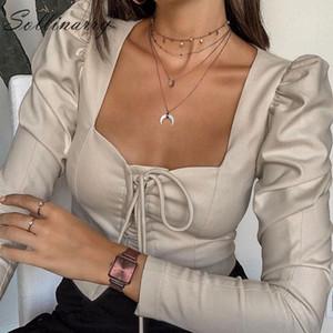 Sollinarry Yüksek Moda Kısa Bluzlar Kadınlar Uzun Kollu Lace Up Ince Seksi Bluz Gömlek Kadın Gri Rahat Top Busas Sokak Y200103