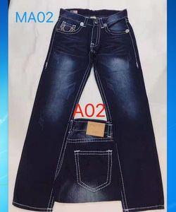 Mens Dritto Jeans Pantaloni Pantaloni lunghi Pantaloni da uomo True Bianco linea Religione Jeans Vestiti Uomo Casual Pantaloni a matita Blu Blu Nero Denim Pants TR218