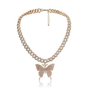 Bling Butterfly Pendant Charm Full Rhinestone Miami Curb Cuban Chain Hip Hop Choker Necklace Rapper Rock Men Women Jewelry