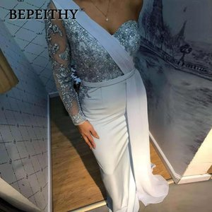 BEPEITHY одно плечо платье партии с длинным рукавом 2020 Платье De Festa длинное вечернее платье