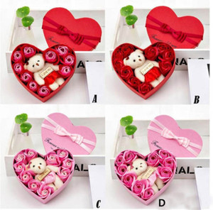 New 2020 Valentines Day Flowers Soap Flower Gift Rose Box Bears Bouquet Wedding Decoration Gift Festival Heart-shaped Box HH9-3545