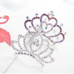 coloré Crown Tiara peigne cristal diamant fleur fille princesse cheveux peigne peigne tête girl anniversaire cadeau cadeau de mode bijoux sera et sablonneuse nouvelle