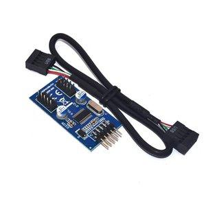 Placa base 9pin USB encabezado a 2 tarjeta de adaptador masculino usb2.0 9pin a doble conector divisor