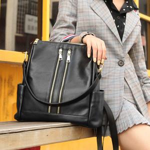 Cobbler Legend Çift Fermuar Kadınlar Gerçek Deri Sırt Çantası Siyah Kadın Dönüştürülebilir Laptop Çanta Büyük Kapasiteli Cüzdan Okul Çantası Q1113