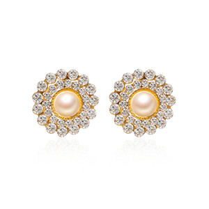 20Pairs Lot Sunflower Round Pearl Stud Earring Fashion Full Diamond Ear Drop For Women Business Party Gift Alloy Earring Jewelry