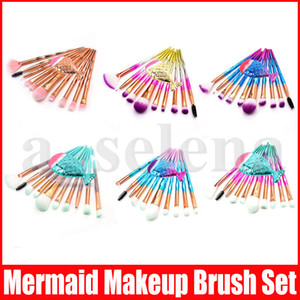 11pcs fixés pinceaux de maquillage diamant sirène Set Make Up Brush brosses 3D diamant coloré spirale bling crème fard à joues Fundation Glitter Pinceau Kit