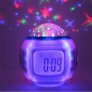 Originalidad Starry Sky Proyección Reloj Colorido Pantalla azul Personalidad Digital Reloj de alarma Lámparas de música Decorar el hogar Venta caliente 19xj F2