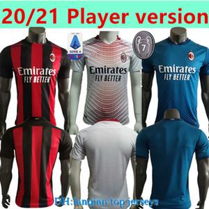 Jogador Versão 20 21 CA Milan Home Away 3rd Jerseys 2020 2021 Ibrahimovic Tonali Paqueta Camisa de Futebol Bennacer Rebic Romagnoli