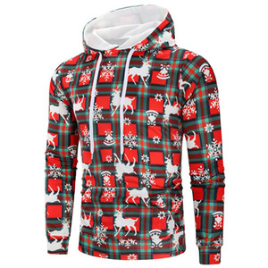 Sudaderas con capucha para hombre de Navidad Primavera Otoño Rojo ocasionales flojas diseñador de los hombres Tops Venta caliente Festival de ropa