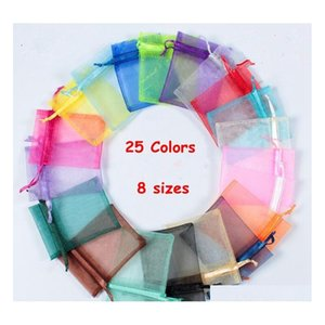 25 colors gift wrap organza bags jewelry bag 7x9 9x12 10x15 13x18cm wedding party decoration drawable bags gift pouches 100 pack tzD7Z