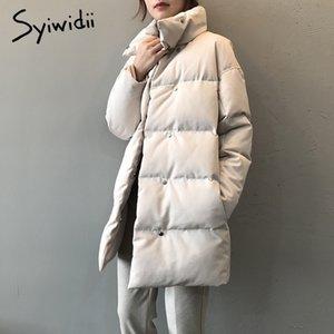 syiwidii woman parkas plus size clothing for women jacket beige black Cotton Casual Warm fashion Button Long winter coat 201104