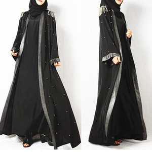 Diamonds Black Muslim Abaya Full Dresses Cardigan Kimono Long Robe Gowns Tunic Jubah Middle East Ramadan Arab Islamic Clothing1