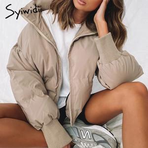 Escudo Syiwidii invierno elegante de las mujeres más el tamaño de la chaqueta de la ropa del fumador Algodón Moda Otoño Negro Beige de gran tamaño Calentar Parkas 201015