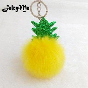 Bonito Chaveiro Fruta Abacaxi Chaveiros Pompom Fur Ball Glitter Folha Lantejoulas Keyring Mulheres Saco Pingente Chaveiro Chaveiro Titular DIY1