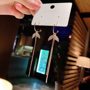 Korean-Style Simple Ins Cool Style Thin Face Temperamental Earrings 925 Silver Needle Super Fairy Diamond Fishtail Tassel Earrings for Women