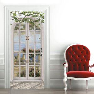 Fake Glass Window 3D Print Door Stickers Green Landscape Farmhouse Style Renovation Vinyl Deur Sticker Decals Living Room Decor