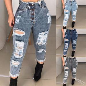 Jeans déchiré pour femmes taille haute lavée sexy slim ajustement avec boutons en métal plus taille casual femme jeans luentolo