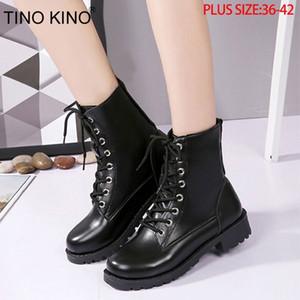 Tino Kino Kadınlar Platformu Sonbahar Ayak Bileği Çizmeler Bayanlar Lace Up Moda Punk Motosiklet Ayakkabı Kadın Kalın Orta Topuklu Artı Boyutu T200425