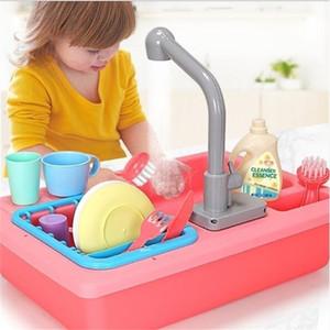 Simülasyon Elektrik Bulaşık Makinesi Lavabo Pretend Pretend Oyna Mutfak Oyuncak Seti Çocuk Çocuklar Bulmaca Erken Eğitim Oyuncaklar Hediyeler Y200428