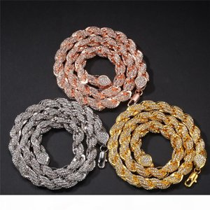 Hiphop Silver Gold Rose Gold Color Full Rhinestone 9MM Twisted Chain Necklaces For Women Men Choker Collar Statement Jewelry