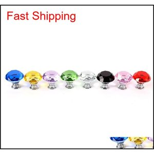 30mm Diamond Crystal Glass Door Knobs Drawer Cabinet Furniture Handle Knob Screw Furn qylBzE pets2010