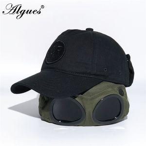 Flight Helmet Fashion-black Pilot Baseball Sun Protection Sunglasses Hip Hop Cap With Glasses Hat Accessories 201023