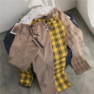Privathinker Erkekler Kadınlar Kore Siyah Ekose Günlük Pantolon 2020 Erkek Streetwear Harem Pantolon Erkek Damalı Pantolon Artı boyutu