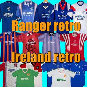 vintage 87 90 92 94 96 97 99 01 Glasgow Rangers Camisetas de fútbol retro azul visitante blanco Irlanda Camisetas de fútbol kits de fútbol Uniformes