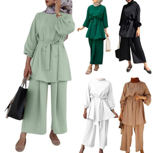 Women Muslim Summer Solid Outfit Long Sleeve Belted Tunic Tops Wide Leg Pants