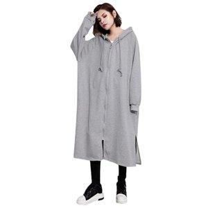 Chirstmas Женщины Крупногабаритного Сыпучего капюшон куртка пальто Топ Блуза 2020 Мода Zipper Outwear Плюс Размер куртка платье